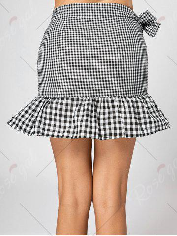 Discount Fitted Ruffle Mini Plaid Skirt - S BLACK + WHITE Mobile