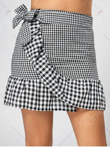 Outfit Fitted Ruffle Mini Plaid Skirt - S BLACK + WHITE Mobile