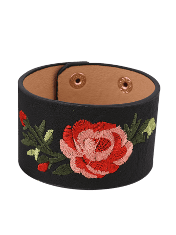 Hot Faux Leather Chinese Flower Embroidery Bracelet - BLACK  Mobile