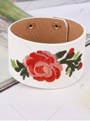 Cheap Faux Leather Chinese Flower Embroidery Bracelet - WHITE  Mobile