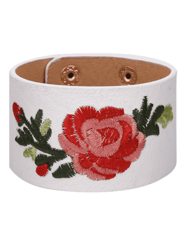 Faux Leather Chinese Flower Embroidery Bracelet - White - Diameter 6.5cm Wide 4cm