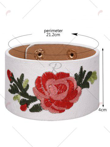 Sale Faux Leather Chinese Flower Embroidery Bracelet - WHITE  Mobile