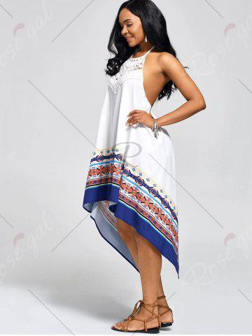 Outfit Halter High Low Backless Boho Casual Dress - S WHITE Mobile
