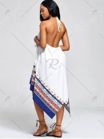 Chic Halter High Low Backless Boho Casual Dress - S WHITE Mobile