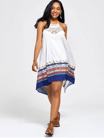 Halter High Low Backless Boho Casual Dress - White - Xl