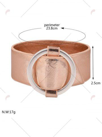 Trendy PU Leather Metal Circle Bracelet - ROSE GOLD  Mobile