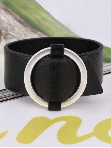 Cheap PU Leather Metal Circle Bracelet - BLACK  Mobile