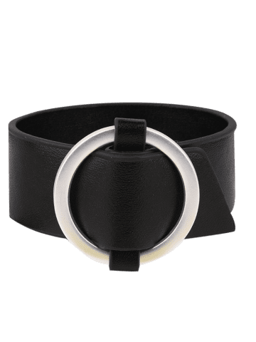 Sale PU Leather Metal Circle Bracelet - BLACK  Mobile