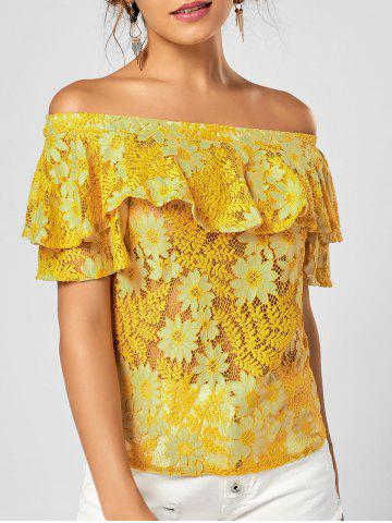 Floral Lace Ruffle Off The Shoulder Top - Yellow - L