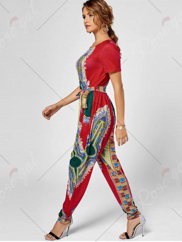 Hot Tribe Print Jumpsuit - S RED Mobile