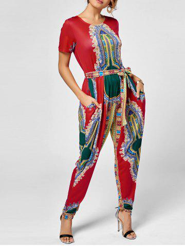 Hot Tribe Print Jumpsuit - M RED Mobile