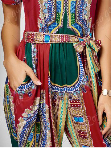 Chic Tribe Print Jumpsuit - M RED Mobile