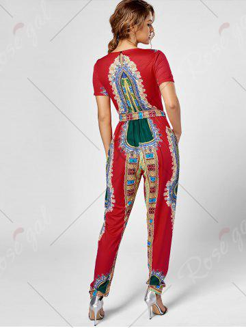 Trendy Tribe Print Jumpsuit - L RED Mobile