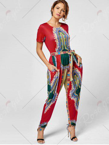 Trendy Tribe Print Jumpsuit - XL RED Mobile
