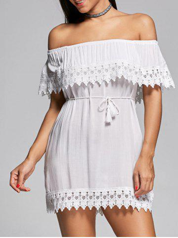 Outfits Off The Shoulder Lace Insert Mini Shift Dress WHITE L