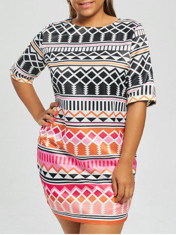 Geometric Printed Plus Size Fitted Dress - Red - 5xl