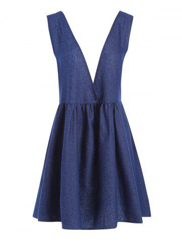 Plus Size Chambray Lace Up Pinafore Dress - Blue - 5xl