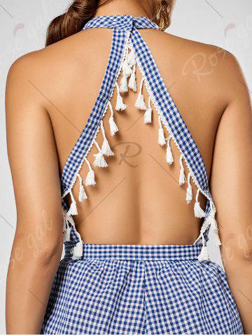 Discount Cutout Tassel Checked Romper - XL BLUE AND WHITE Mobile