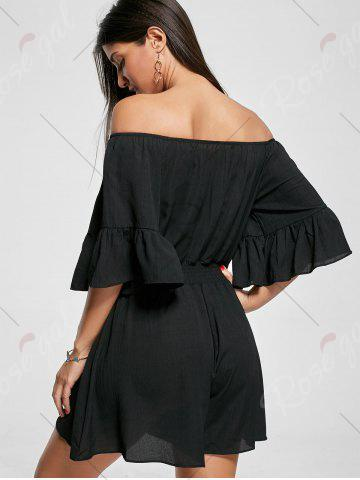 Outfit Ruffle Off The Shoulder Romper - XL BLACK Mobile