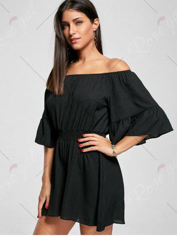 Outfit Ruffle Off The Shoulder Romper - 2XL BLACK Mobile