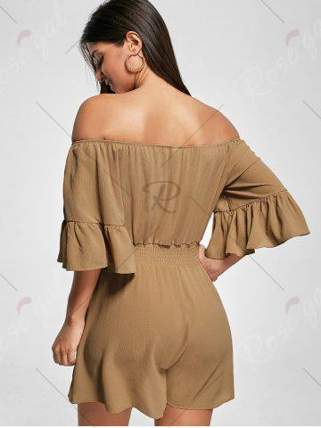 Online Ruffle Off The Shoulder Romper - 2XL BROWN Mobile