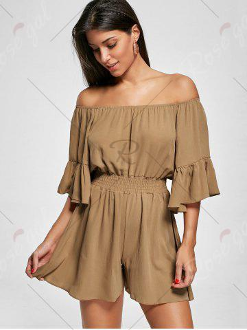 Shop Ruffle Off The Shoulder Romper - 2XL BROWN Mobile
