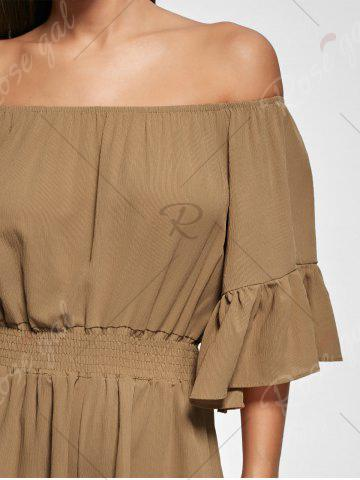 Affordable Ruffle Off The Shoulder Romper - XL BROWN Mobile