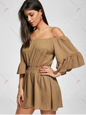 Online Ruffle Off The Shoulder Romper - XL BROWN Mobile