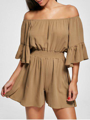 Shop Ruffle Off The Shoulder Romper - XL BROWN Mobile