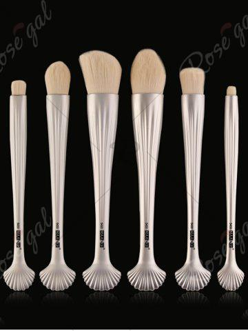 Affordable 6Pcs Plated Shell Handle Face Eye Makeup Brushes - WHITE  Mobile