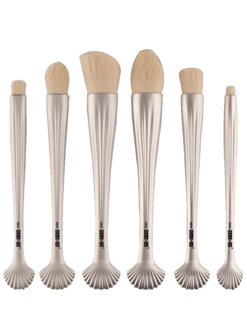 Latest 6Pcs Plated Shell Handle Face Eye Makeup Brushes - WHITE  Mobile