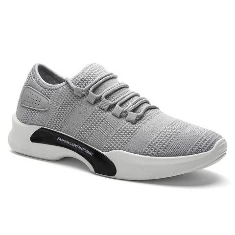 Breathable Mesh Tie Up Athletic Shoes - Gray - 40