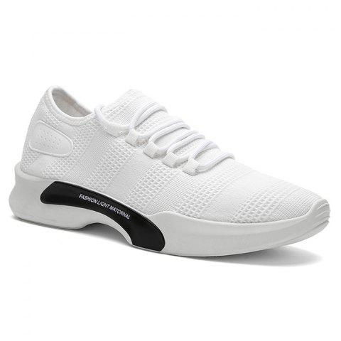 Unique Breathable Mesh Tie Up Athletic Shoes - 43 WHITE Mobile