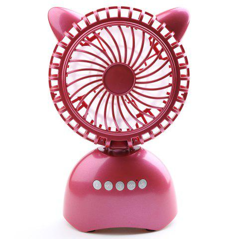 New Wireless Bluetooth Speaker USB Portable Mini Desk Fan PURPLISH RED 20*13*6CM