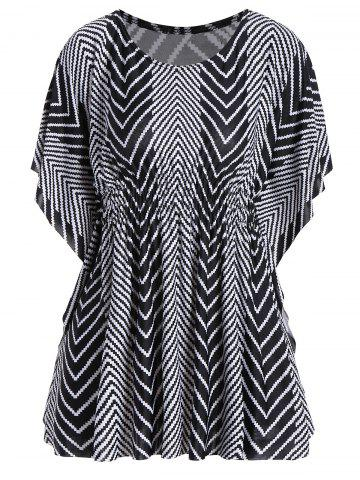 Butterfly Sleeve Zig Zag Plus Size Tunic Top - Black - One Size