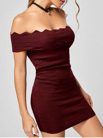 Discount Off The Shoulder Knitted Scalloped Bodycon Dress WINE RED ONE SIZE