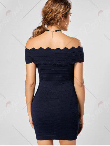 Unique Off The Shoulder Knitted Scalloped Bodycon Dress - ONE SIZE DEEP BLUE Mobile