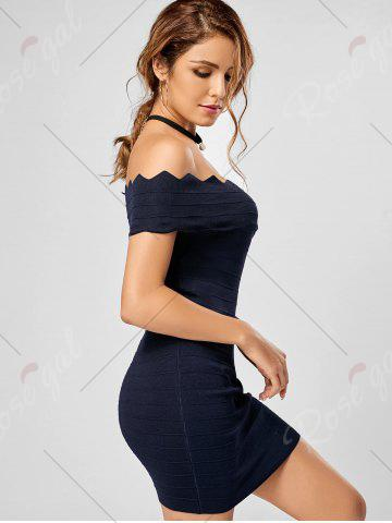Shop Off The Shoulder Knitted Scalloped Bodycon Dress - ONE SIZE DEEP BLUE Mobile