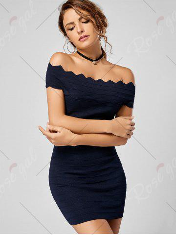 New Off The Shoulder Knitted Scalloped Bodycon Dress - ONE SIZE DEEP BLUE Mobile