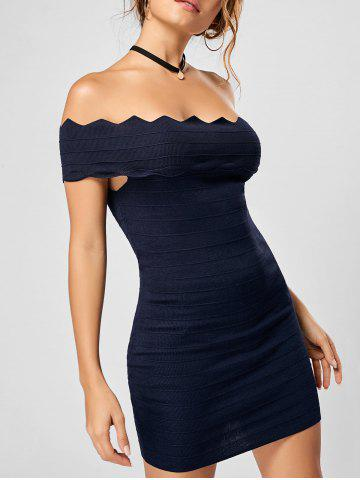Off The Shoulder Knitted Scalloped Bodycon Dress - Deep Blue - One Size