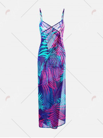 Discount Tropical Leaf Print Cover Up Slip Dress - L COLORMIX Mobile