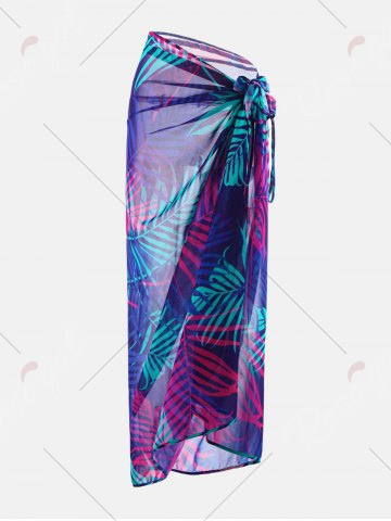 Store Tropical Leaf Print Cover Up Slip Dress - L COLORMIX Mobile