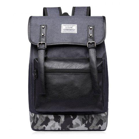 Camo Panel Buckle Straps Backpack - Deep Gray - 40