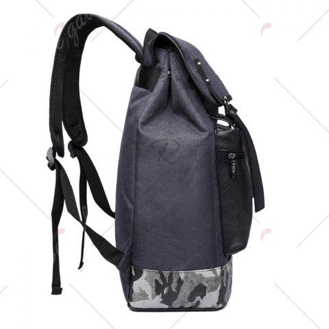 Online Camo Panel Buckle Straps Backpack - DEEP GRAY  Mobile