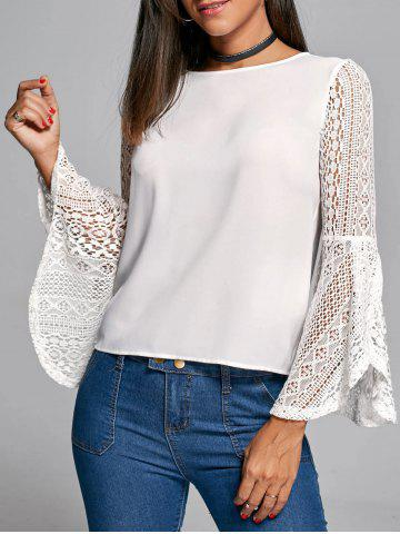 Flare Sleeve Lace Trim Blouse - White - L