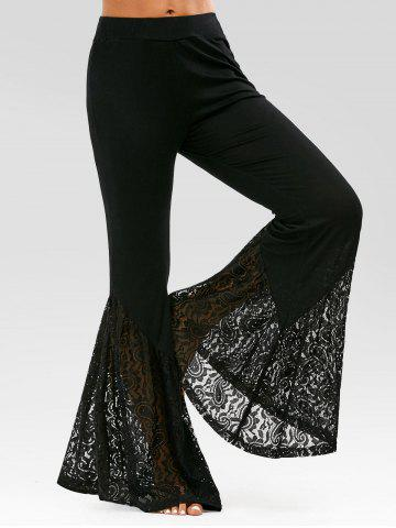 Lace Insert High Waisted Bell Bottom Pants - Black - S