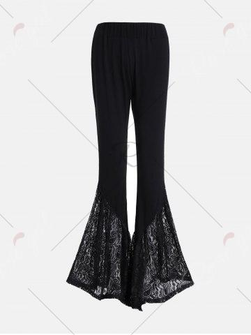 Fashion Lace Insert High Waisted Bell Bottom Pants - 2XL BLACK Mobile