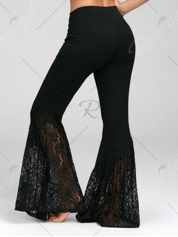 Buy Lace Insert High Waisted Bell Bottom Pants - 2XL BLACK Mobile
