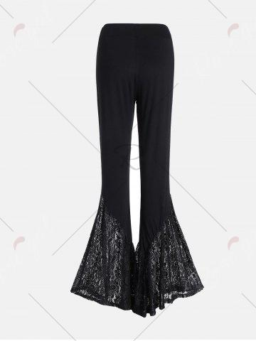 Latest Lace Insert High Waisted Bell Bottom Pants - 2XL BLACK Mobile
