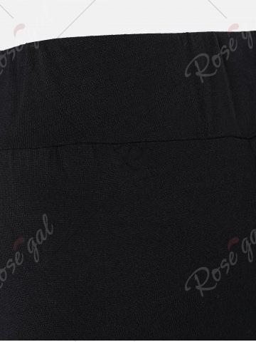 Affordable Lace Insert High Waisted Bell Bottom Pants - 2XL BLACK Mobile